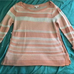 pink/white striped new york & company sweater